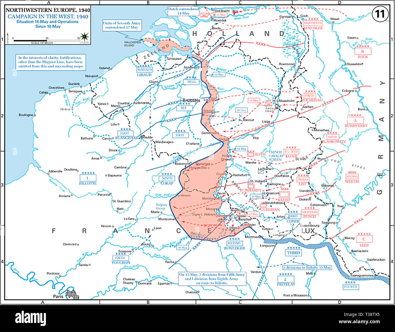 The German advance until noon, 16 May 1940. The map also reveals the dispositions of the Belgian Army and its allies. - Stock Image