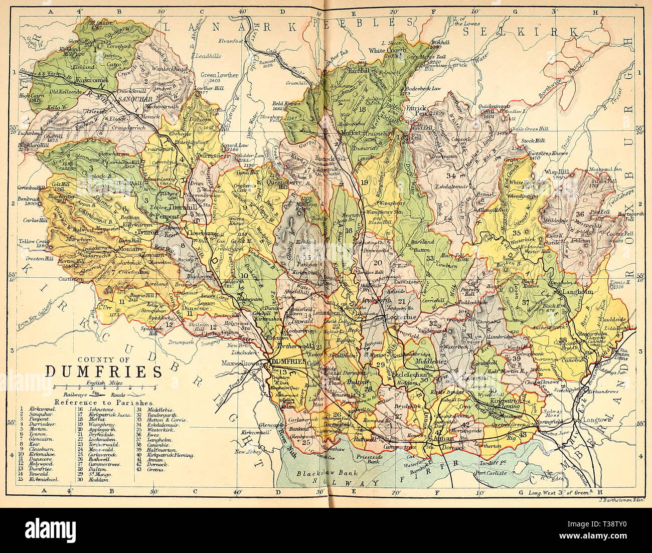 Map of the County of Dumfries, Scotland, circa 1882 - Stock Image