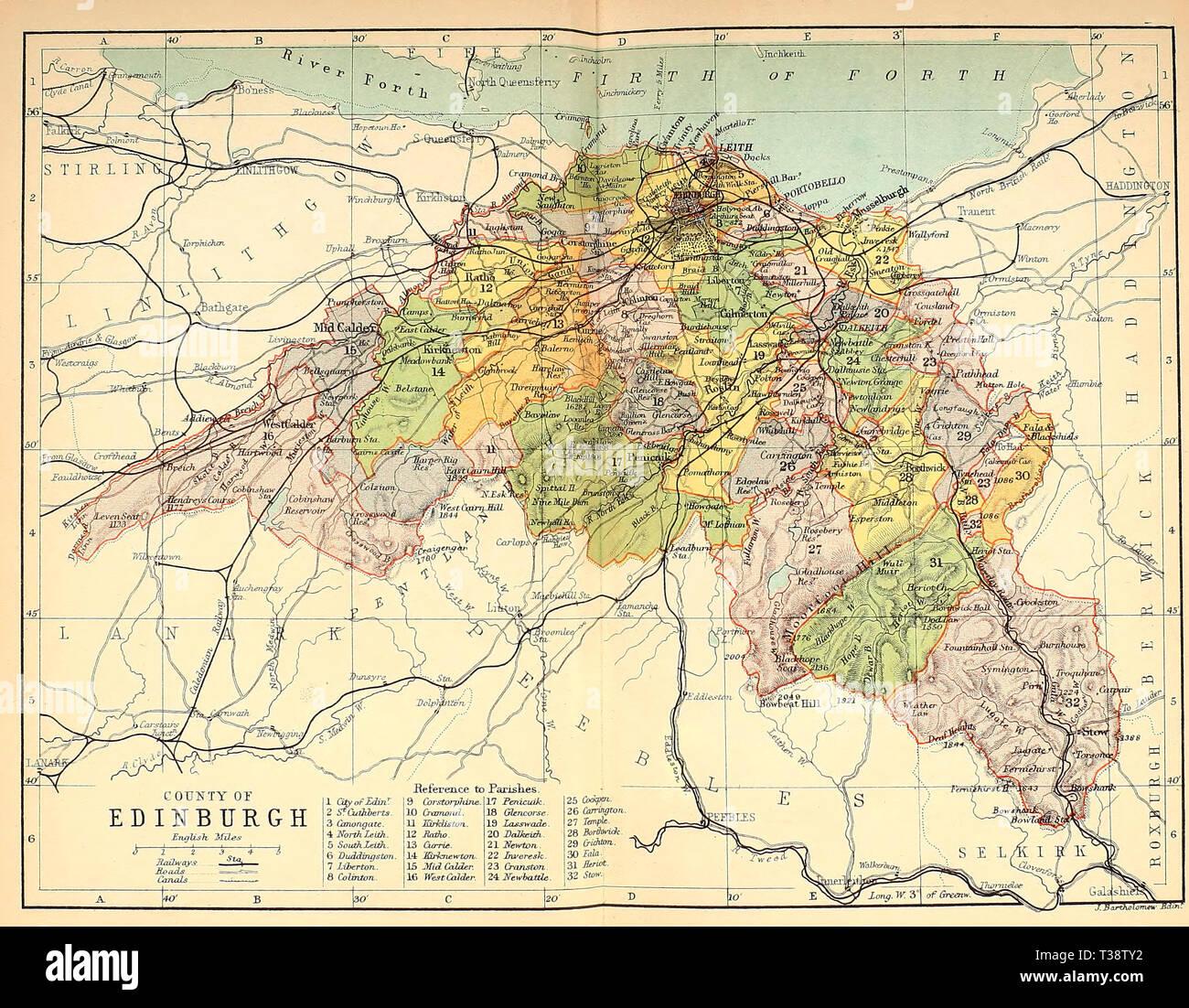 County of Edinburgh, Scotland, circa 1882 - Stock Image
