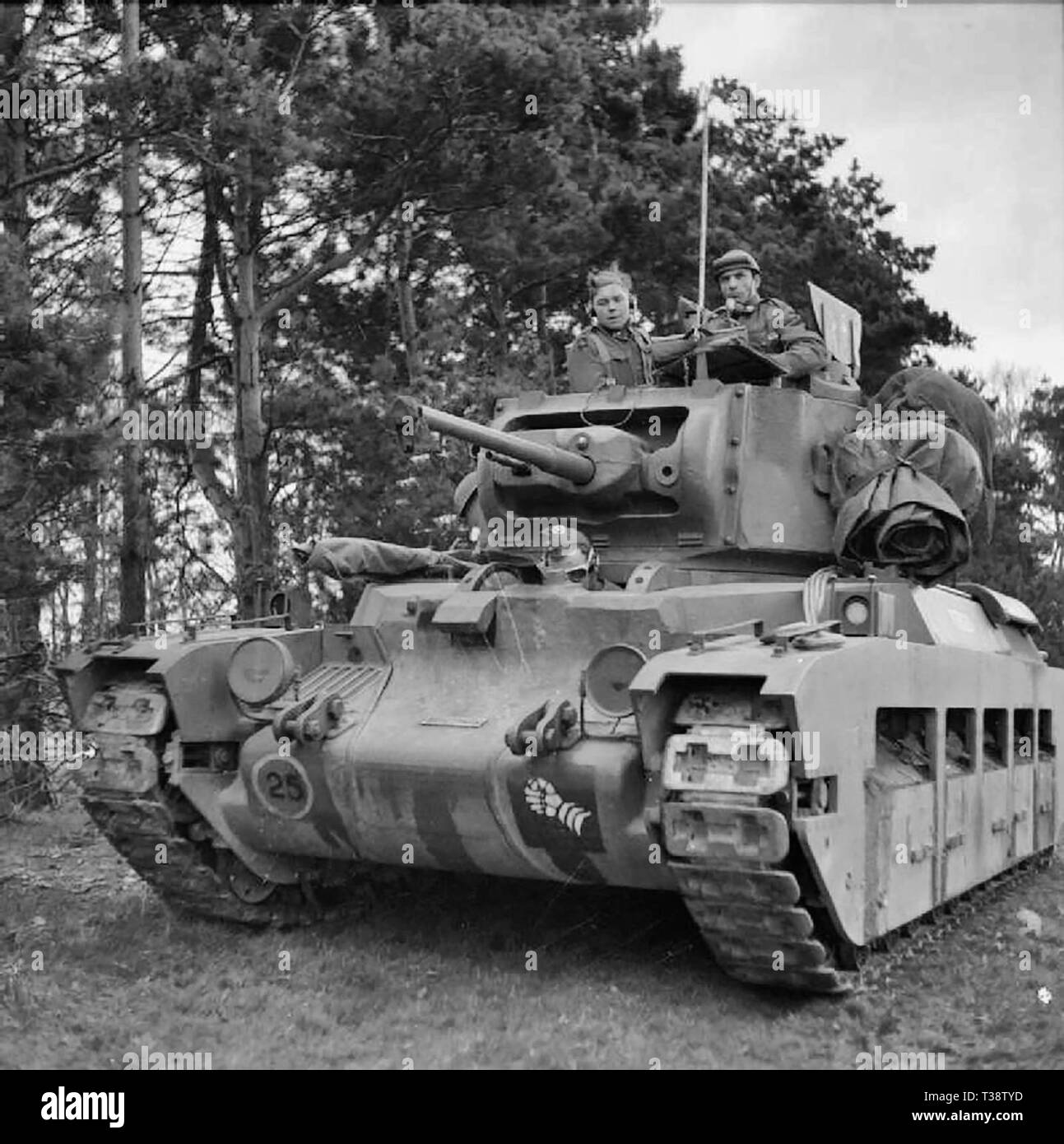 The British Army in the United Kingdom 1939-45 Matilda tank of 6th Armoured Division during large-scale manoeuvres near Thetford in Norfolk, 26-28 April 1941. - Stock Image