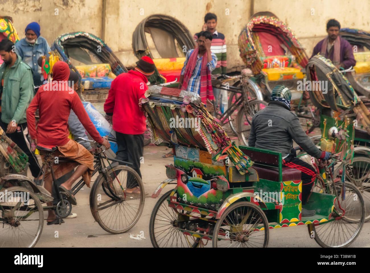 Rickshaws, Dhaka, Bangladesh - Stock Image