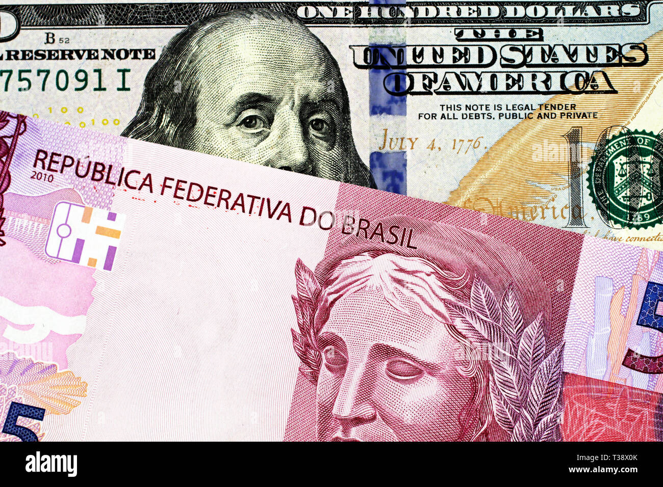 Brazilian One Hundred Real Bill Stock Photos & Brazilian One