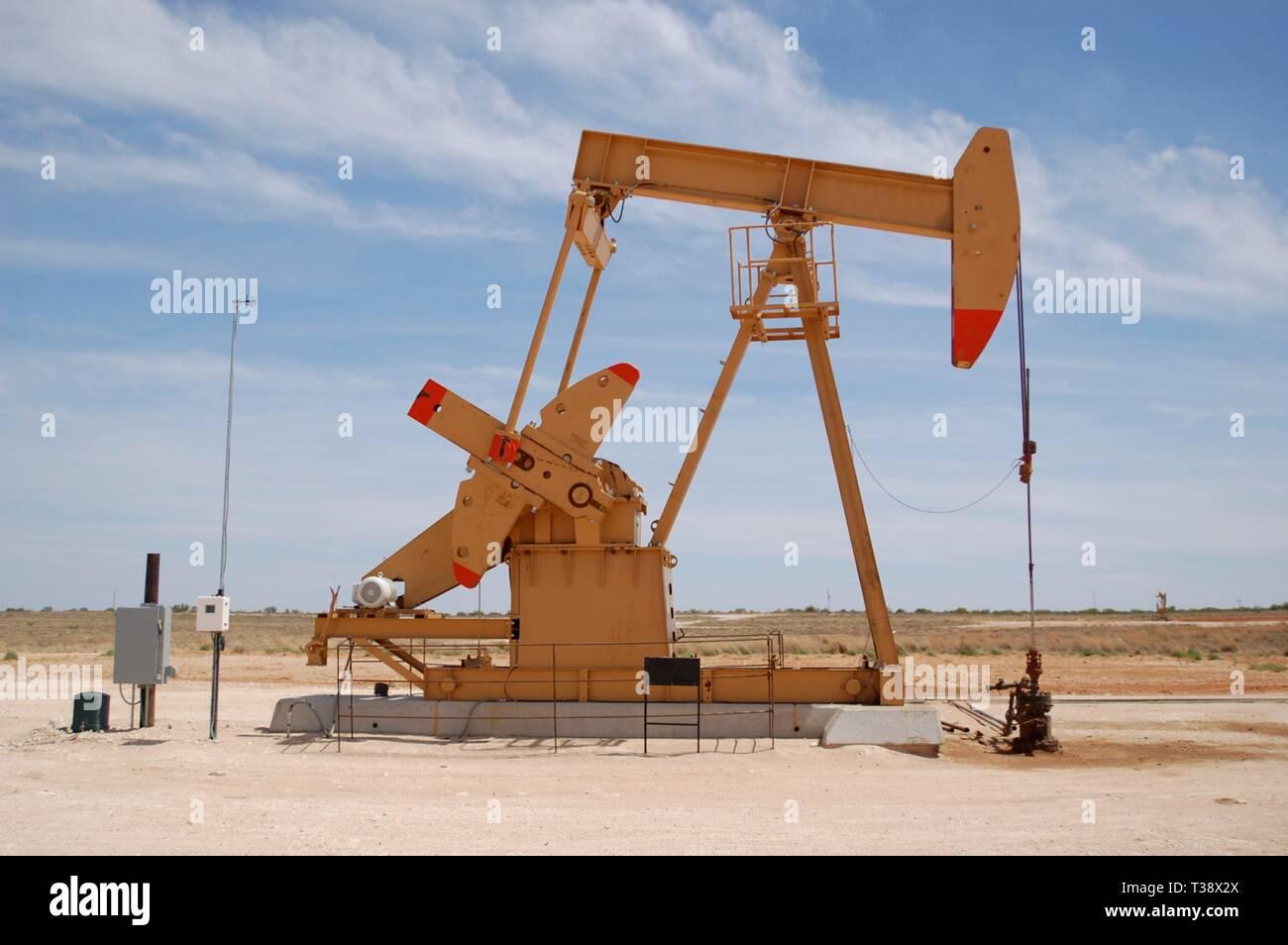 Pumping unit in Permian Basin oilfield near Midland, Texas