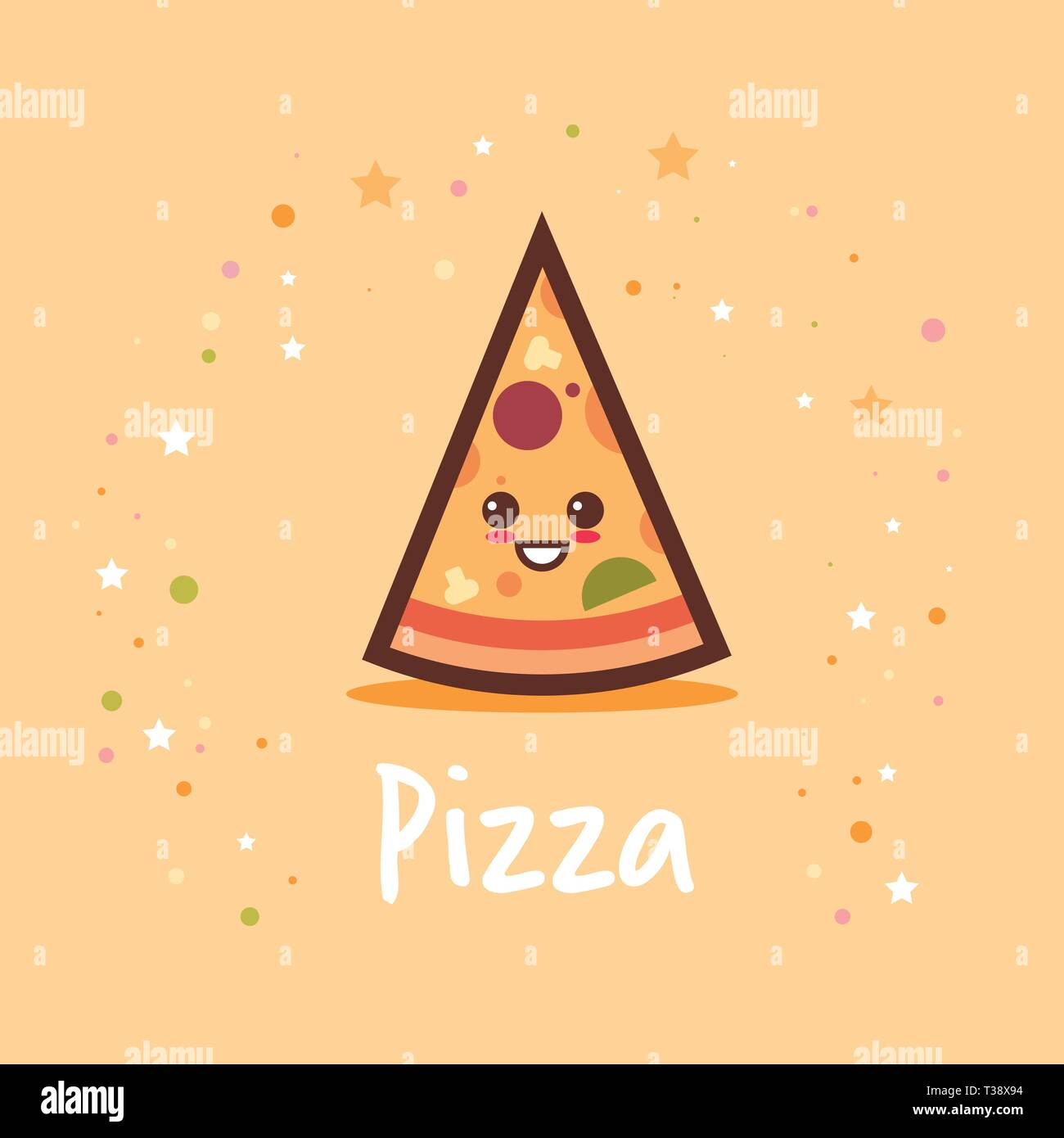 Cute Hot Pizza Slice Cartoon Comic Character With Smiling Face Tasty