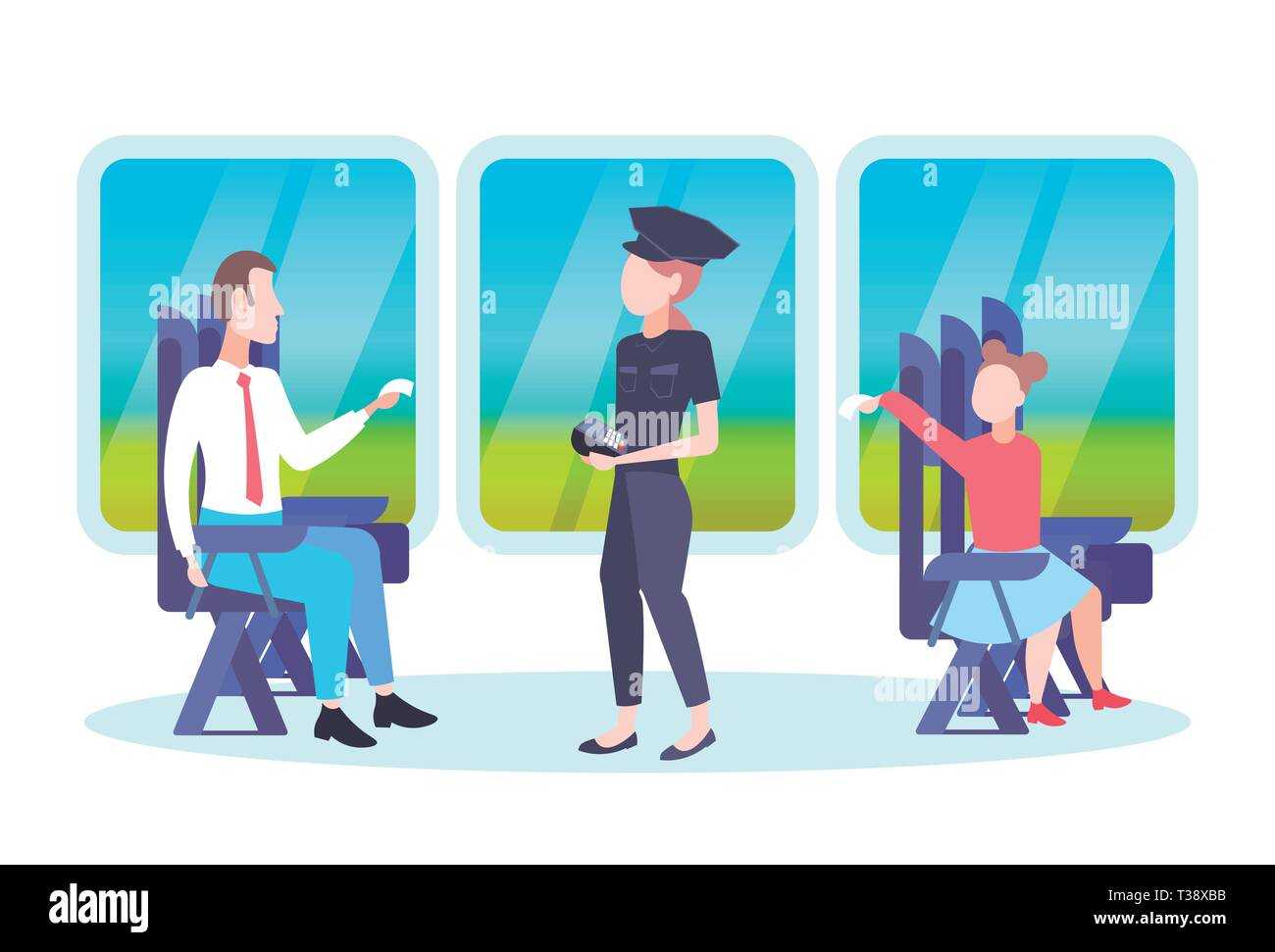 inspector woman checking tickets of passengers sitting in train compartment ticket validation concept railway transport traveling flat full length hor Stock Vector