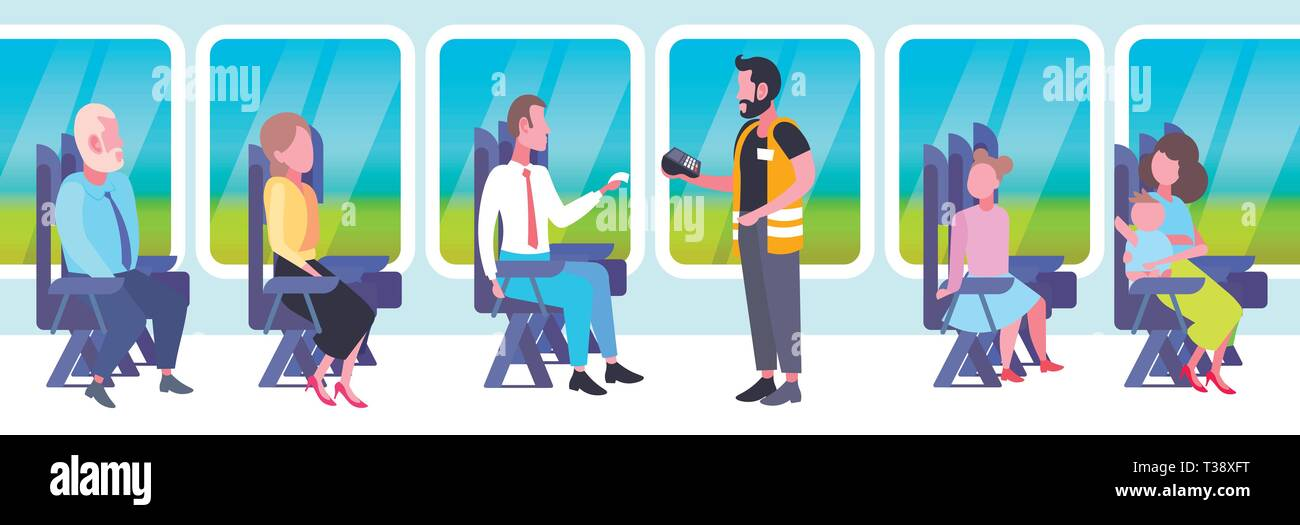 inspector man selling tickets to passengers sitting in train compartment during vacation trip ticket validation concept railway transport traveling fl Stock Vector