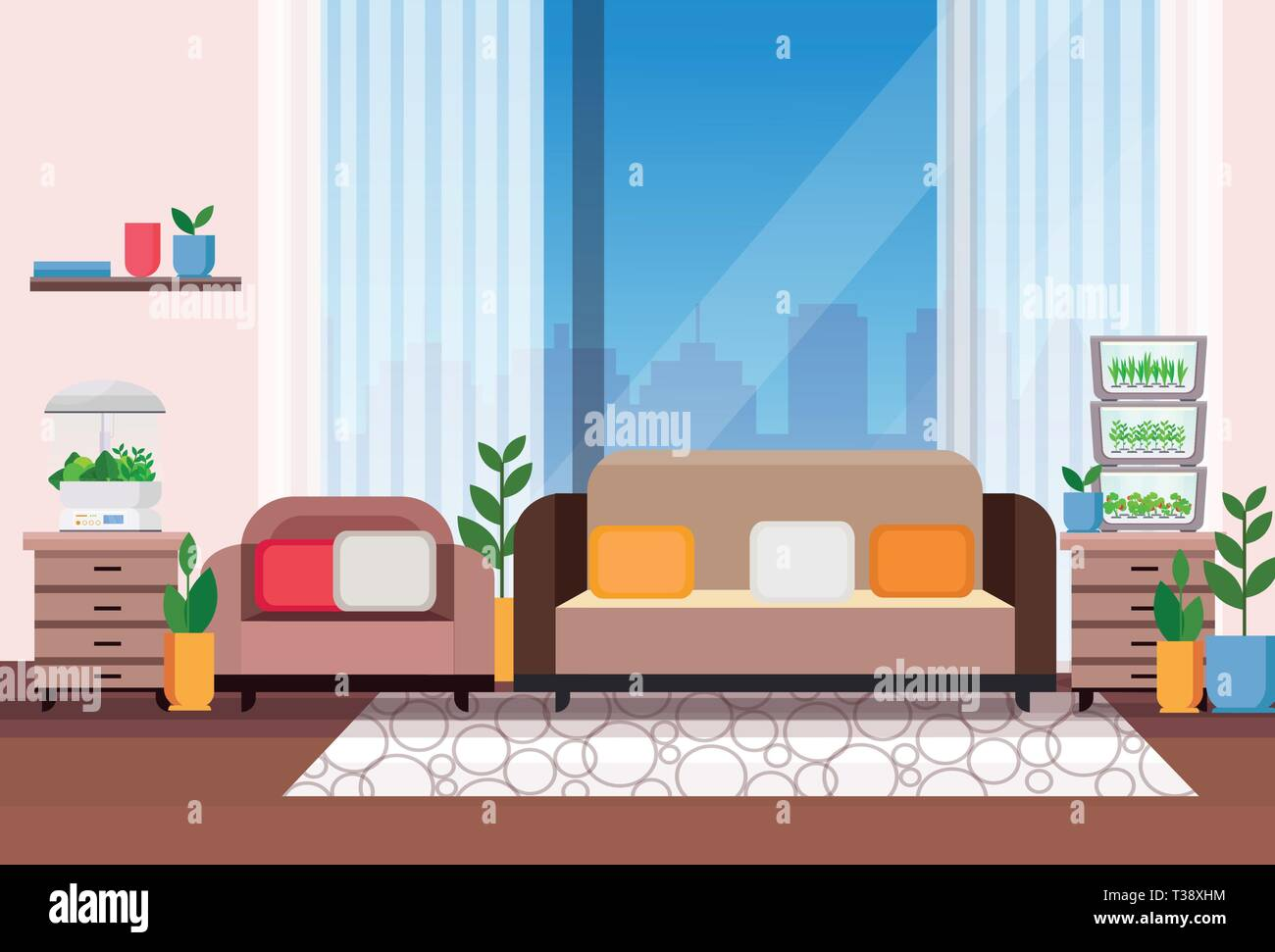 Modern Apartment Living Room Interior With Home Electronic Terrarium Glass Container House Plants Growing Concept Flat Horizontal Vector Illustration Stock Vector Image Art Alamy