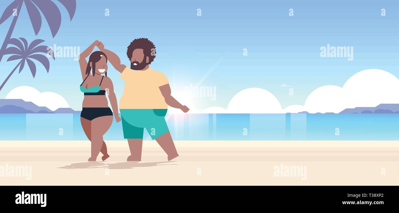 fat obese couple wearing beach clothes overweight man woman dancing having fun summer vacation concept beautiful seaside sunset landscape background f - Stock Vector