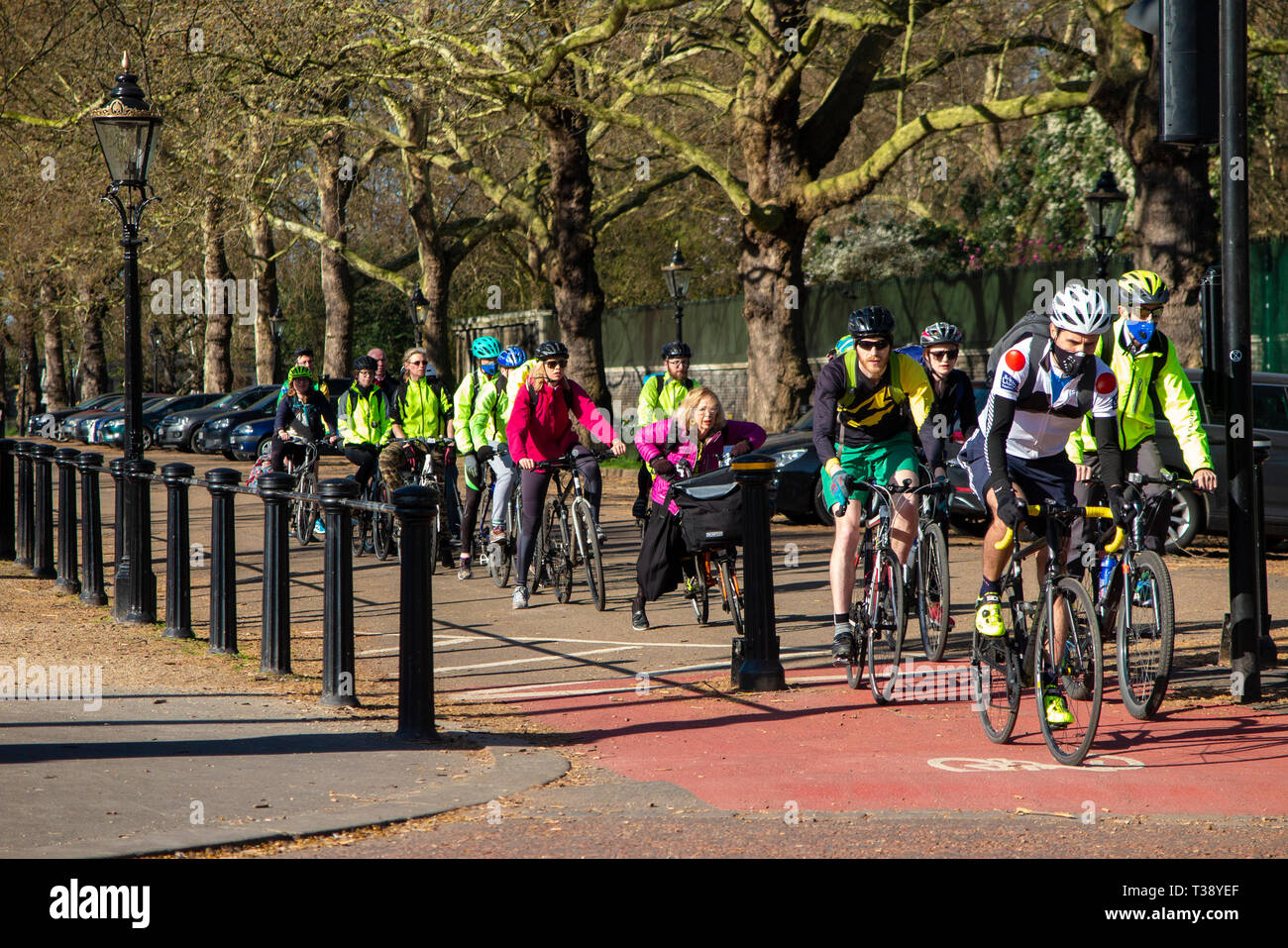 A queue of cyclists riding to work on the Mall in central London - Stock Image