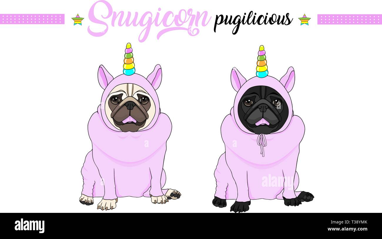 cute vector pug puppy dog sitting down, wearing pink jumpsuit with unicorn horn with rainbow colors Stock Vector