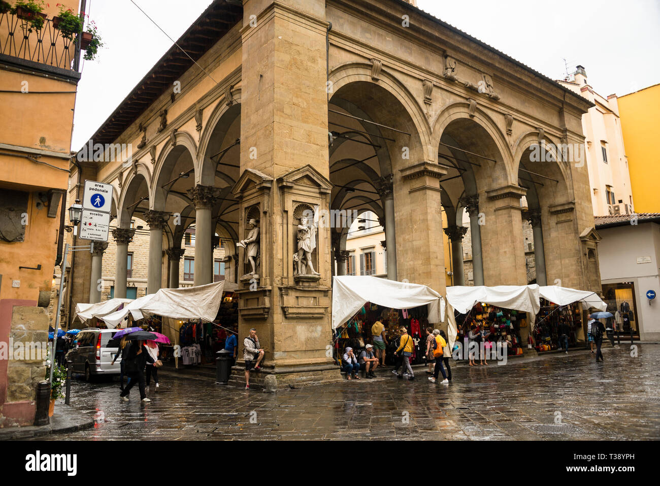 Mercato del Porcellino loggia covered open air market in Florence a few step from the Ponte Vecchio - Stock Image