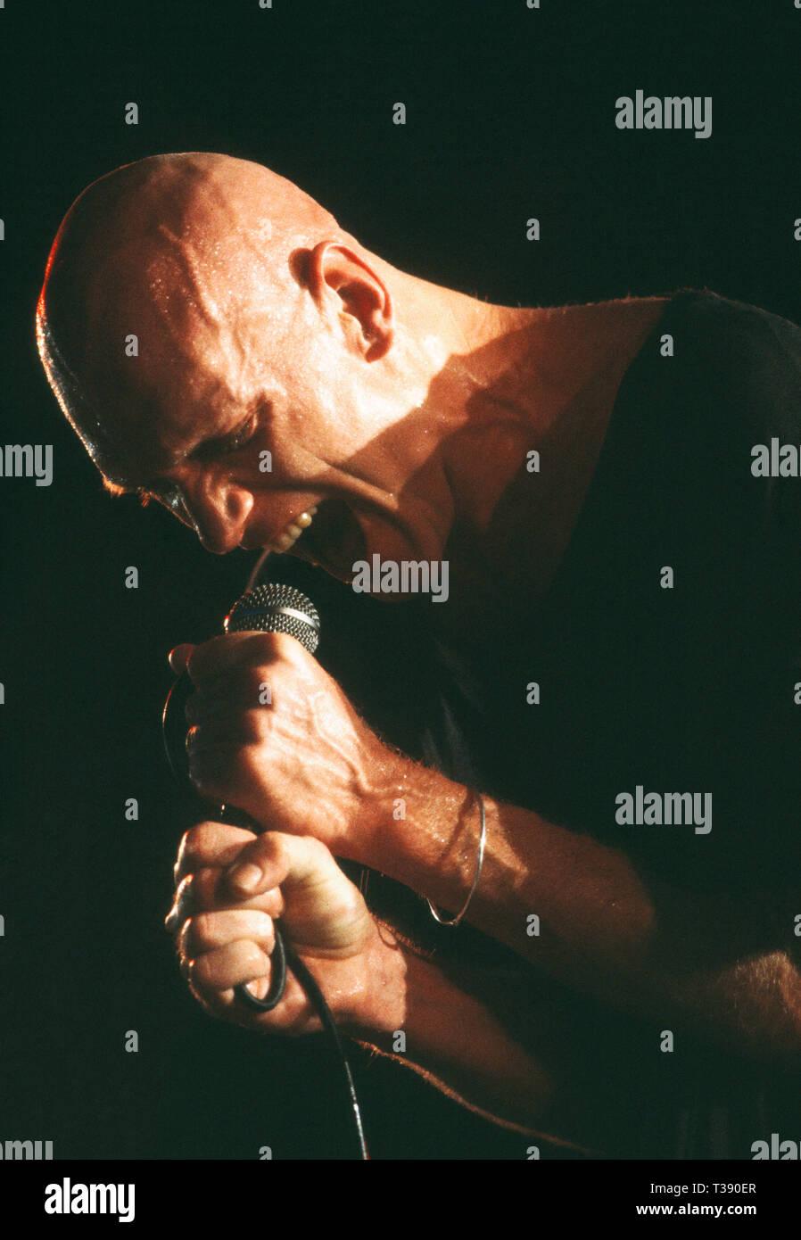 Celebrity.  Musician singer. Peter Garrett of Midnight Oil rock band on stage. - Stock Image