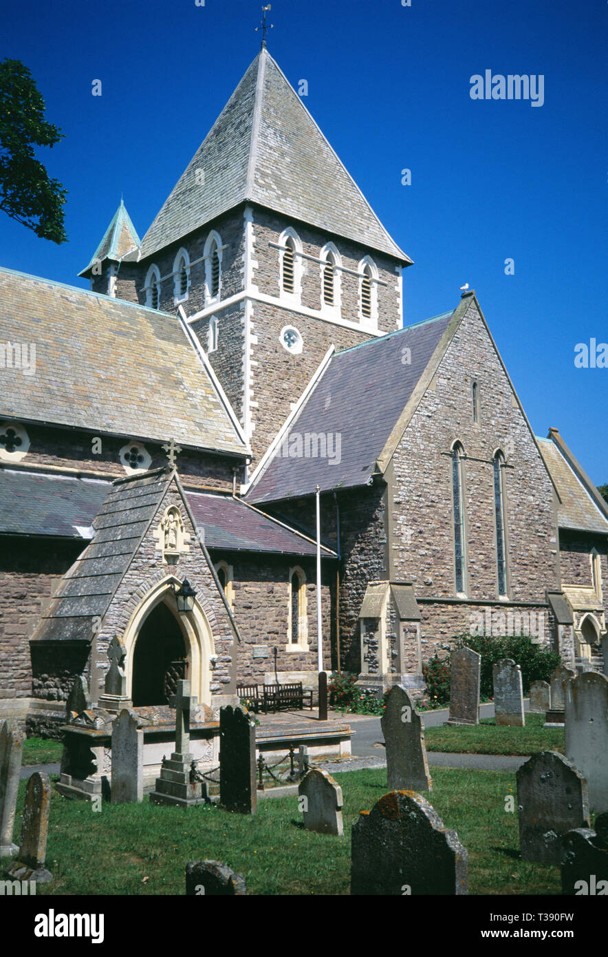 Channel Islands. Alderney. St Anne. View of St Anne's Church and graveyard. - Stock Image