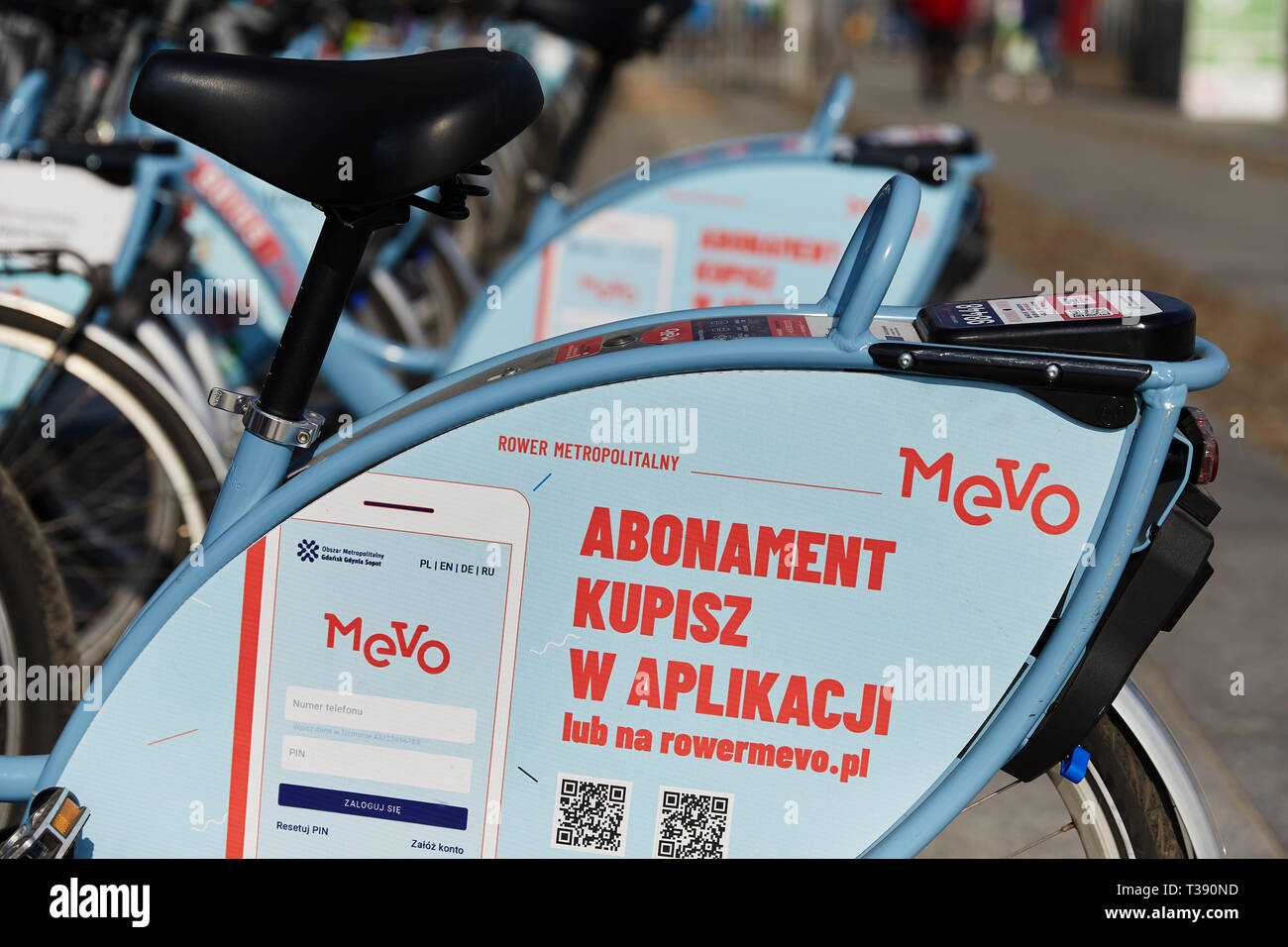 'Mevo' electric bikes. 'Mevo' is new bike sharing system in Metropolitan area Gdańsk Gdynia Sopot, and it's largest and most modern system in Europe. - Stock Image