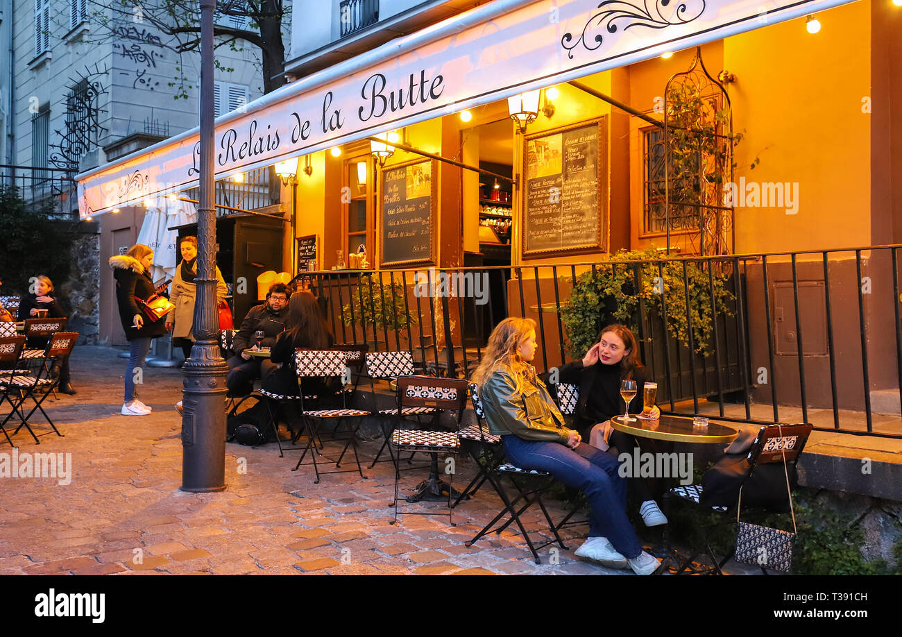 Founded in 1672 , the restaurant Le Relais de la Butte located in Montmartre in 18 district of Paris, France. Stock Photo