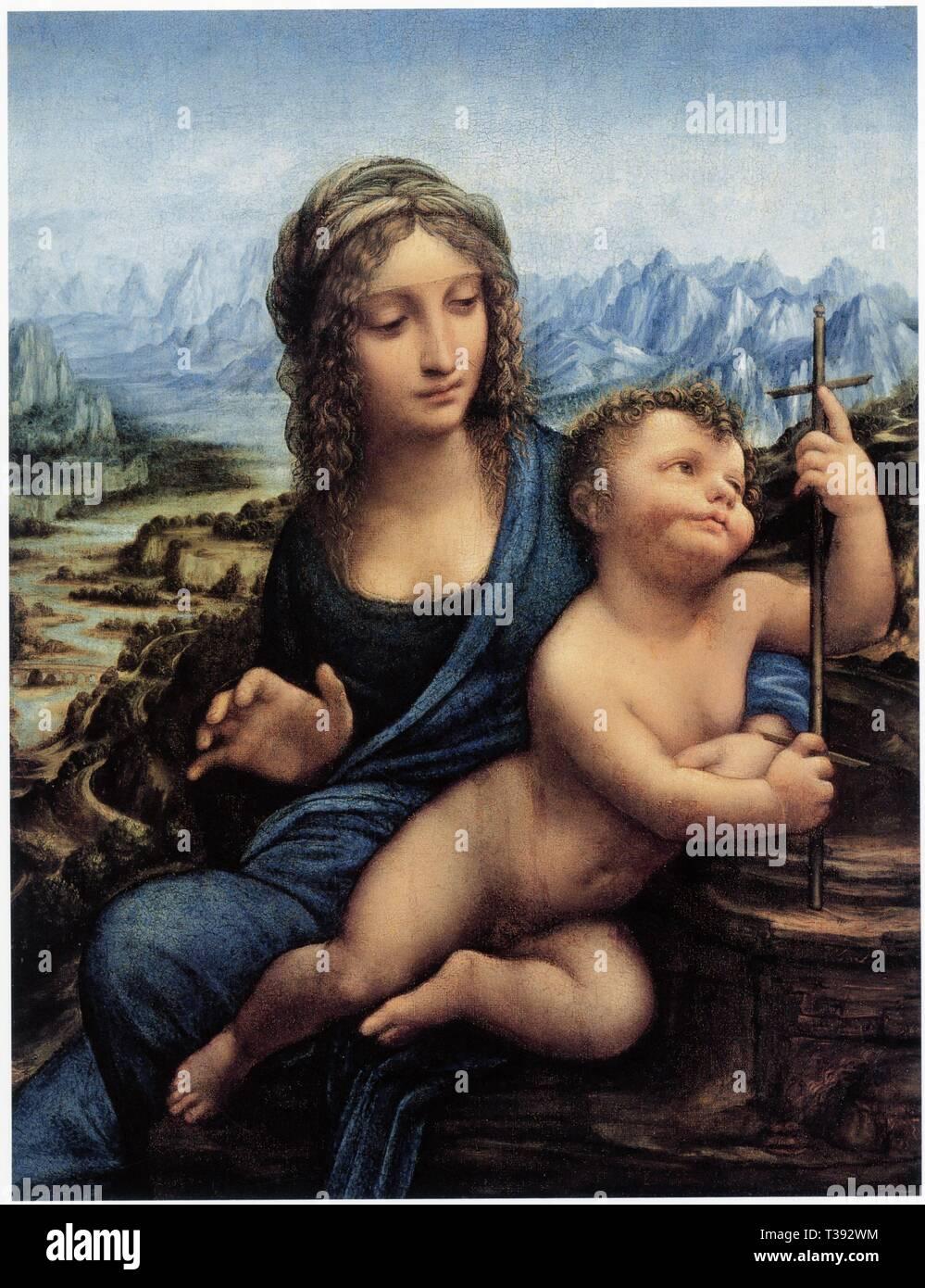 LEONARDO DA VINCI.MADONNA OF YARNWINDER.1501.OIL ON WOOD.52.2 CM X 36.4 CM - Stock Image