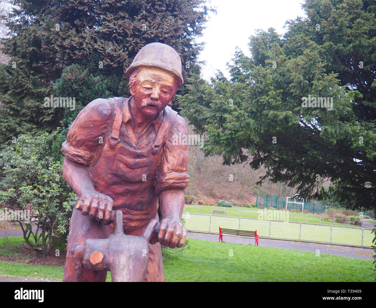 Jack, the Quarryman statue unveiled in Buxton, UK, in January 2018 to celebrate the heritage of quarrying in Buxton and surrounding areas. - Stock Image
