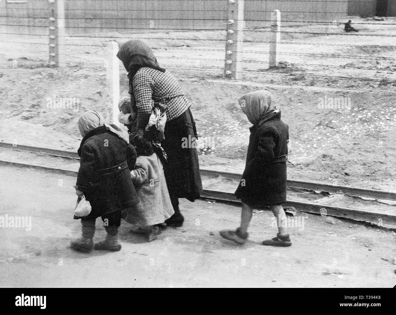 Hungarian woman and children arrive at Auschwitz-Birkenau, 1944 - Stock Image