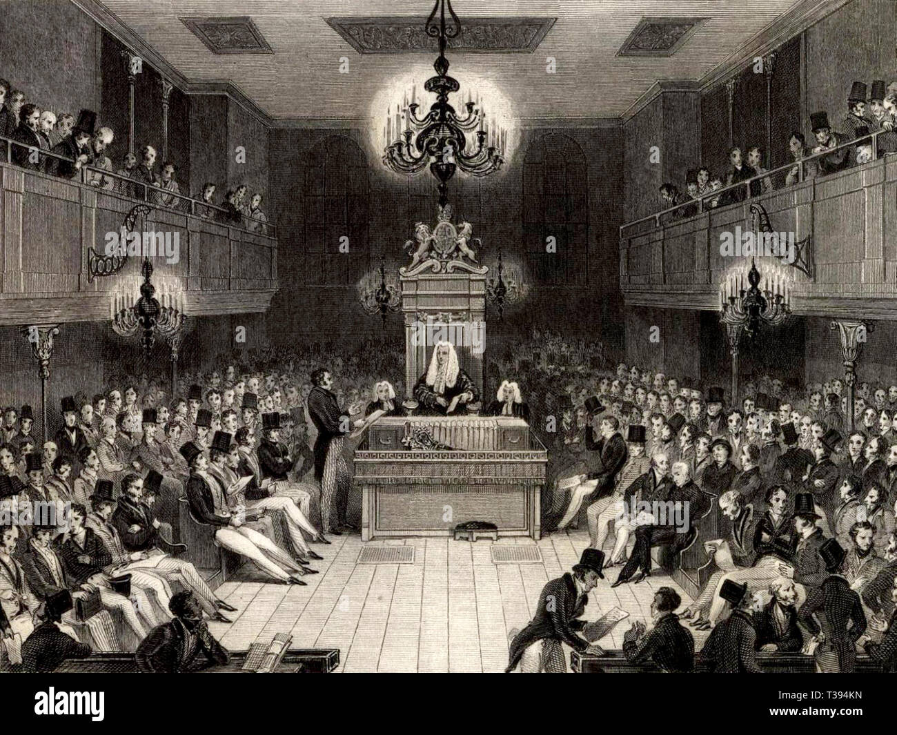 The Speaker presides over debates in the House of Commons, commemorating the destruction of the Commons Chamber by fire in 1834. - Stock Image