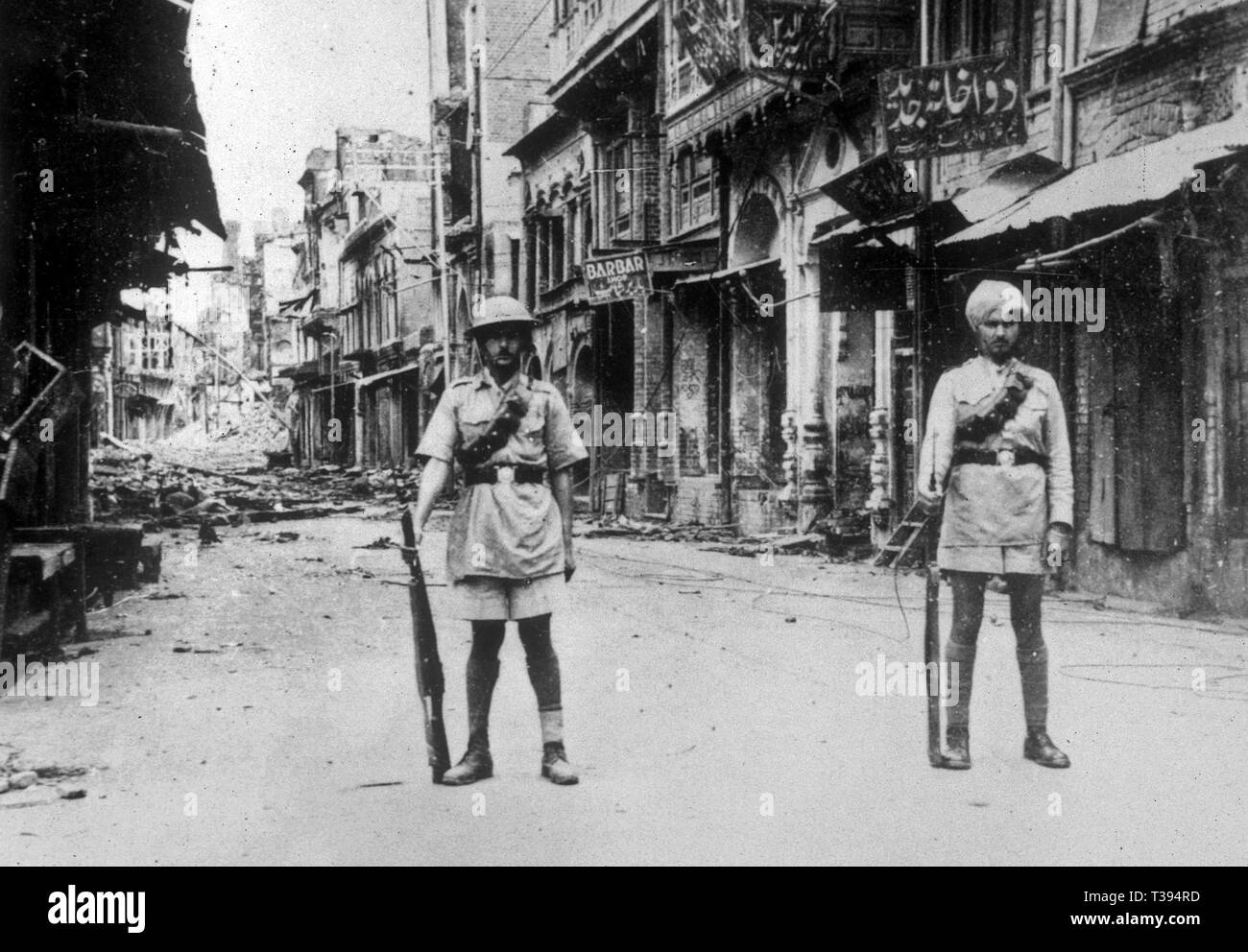 Amritsar Massacre. The Streets of Amritsar during the riots that broke out after the Massacre. 1919, The Jallianwala Bagh massacre - Stock Image