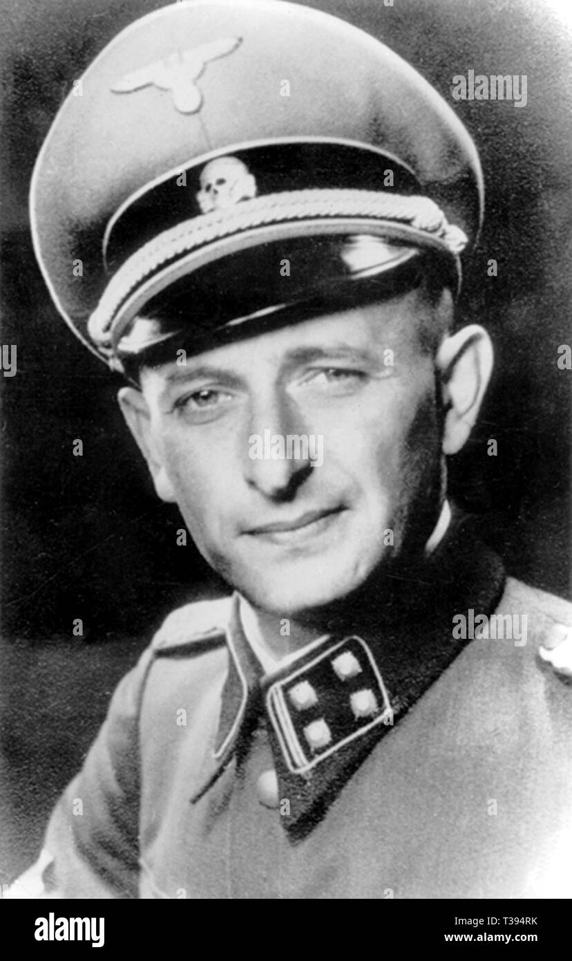 Adolf Eichmann, Otto Adolf Eichmann, Adolf Eichmann (1906–1962), German-Austrian Nazi SS-Obersturmbannführer (Senior Assault Unit Leader) and one of the major organisers of the Holocaust. Head of Reichssicherheitshauptamt (RSHA, Reich Security Central Office) Department IV B4 (Jewish affairs), who organised the deportation of Jews to the Auschwitz concentration camp in German-occupied Poland during the Holocaust - Stock Image