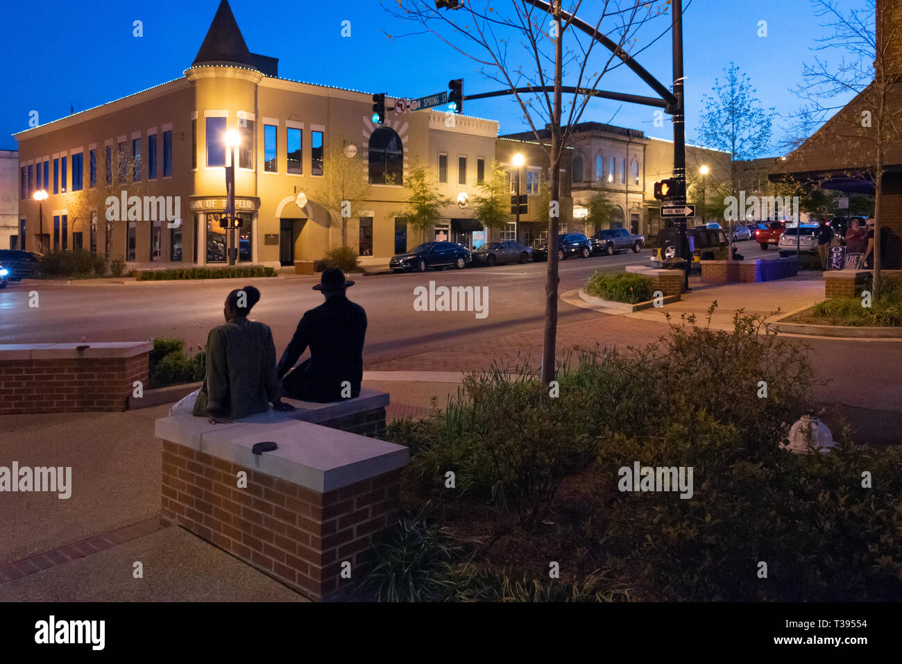 Dusk in historic downtown Tupelo, Mississippi. (USA) - Stock Image