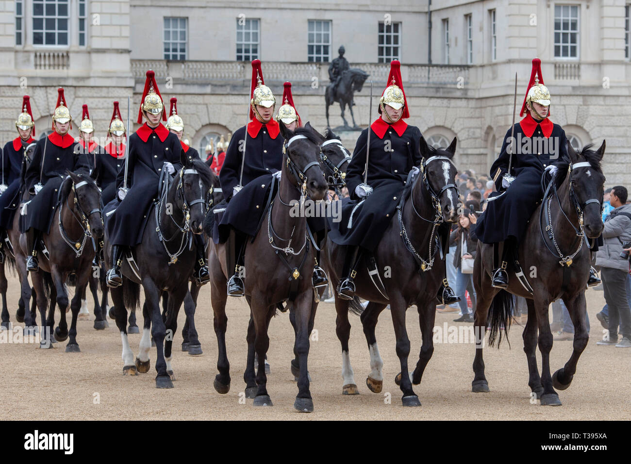 Household Cavalry in winter dress changing the guard, Horse Guards Parade, London, Saturday, March 23, 2019.Photo: David Rowland / One-Image.com Stock Photo