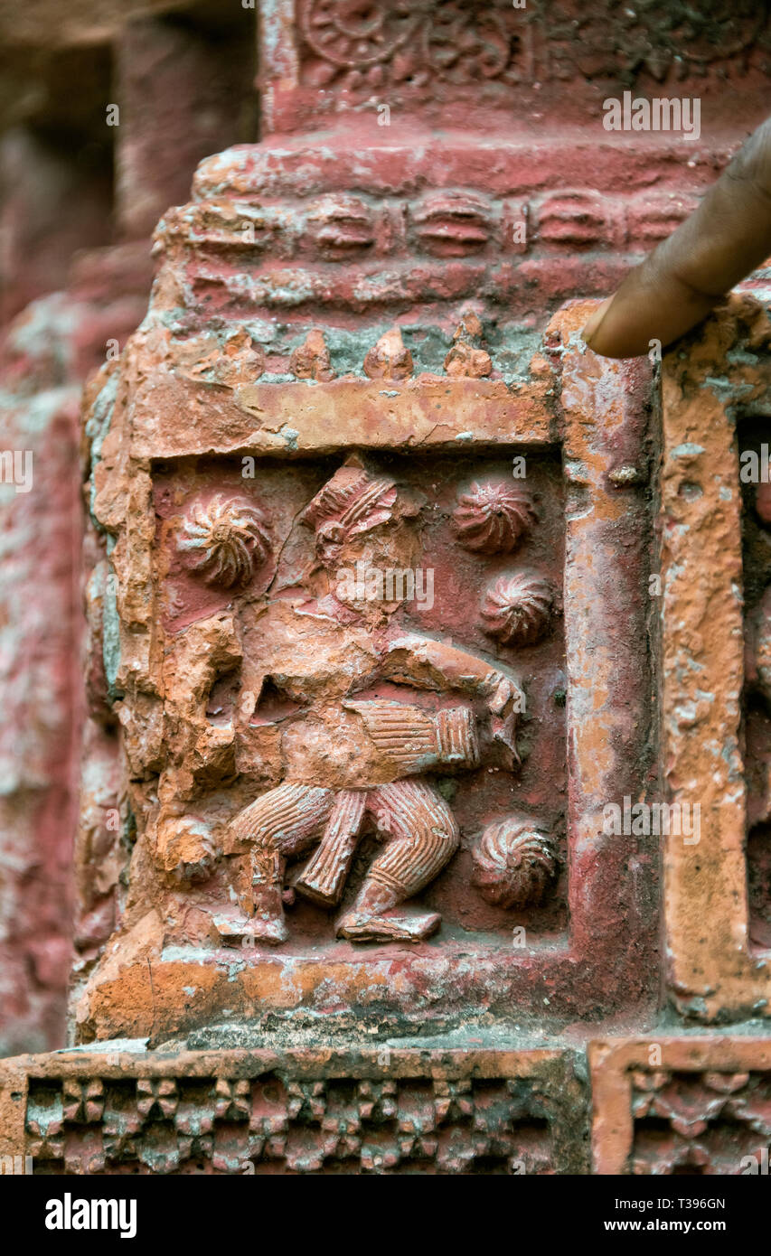 Close-up of relief carving, Puthia Temple Complex, Rajshahi Division, Bangladesh - Stock Image