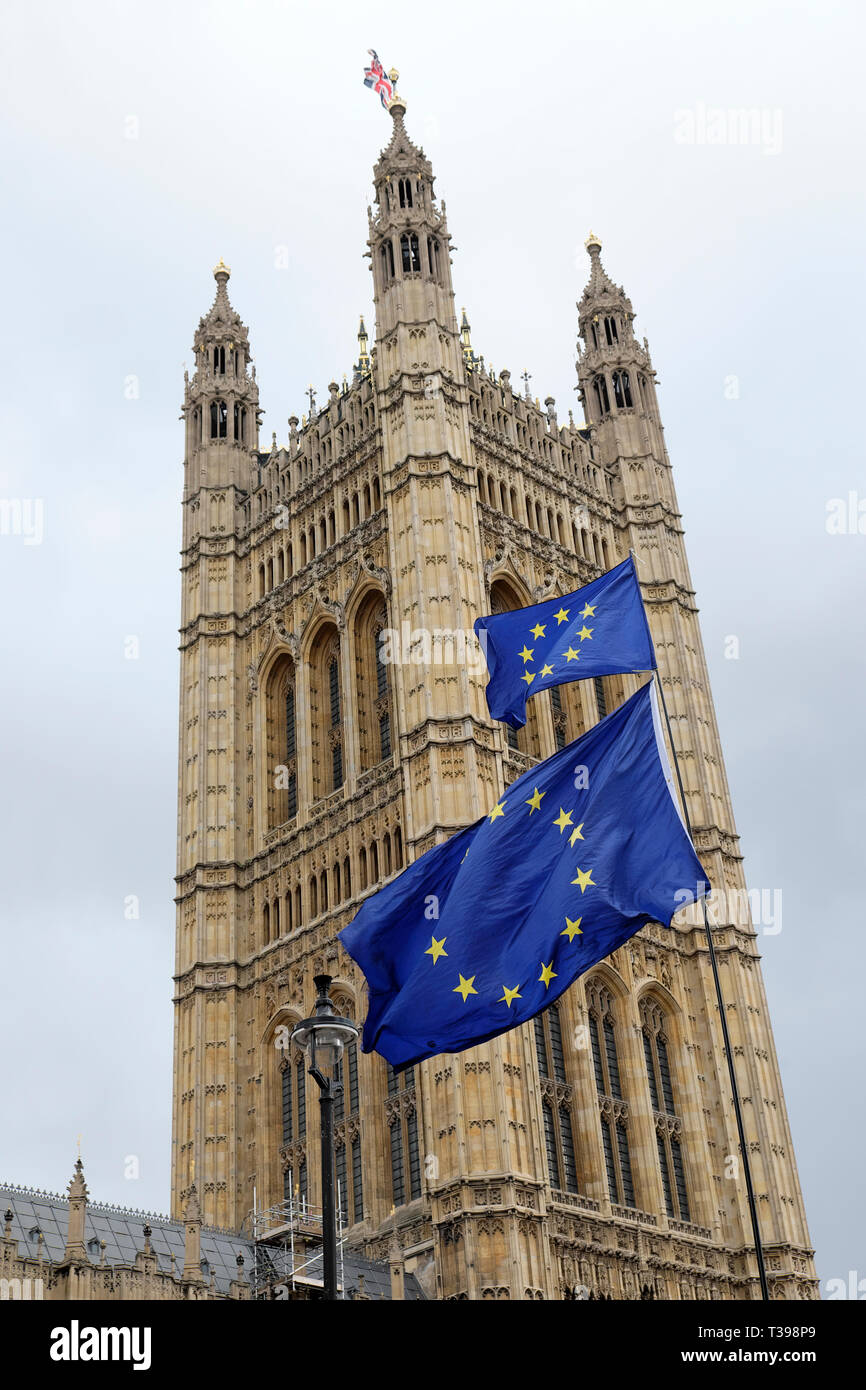 Remainers pro European Union flag blowing in the wind outside the Houses of Parliament in Westminster, London England UK  4th April 2019  KATHY DEWITT - Stock Image