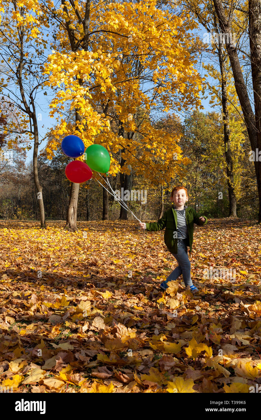 A red-haired boy runs with red green blue balloons and winks with one eye, against a blue sky and an autumn forest or park - Stock Image