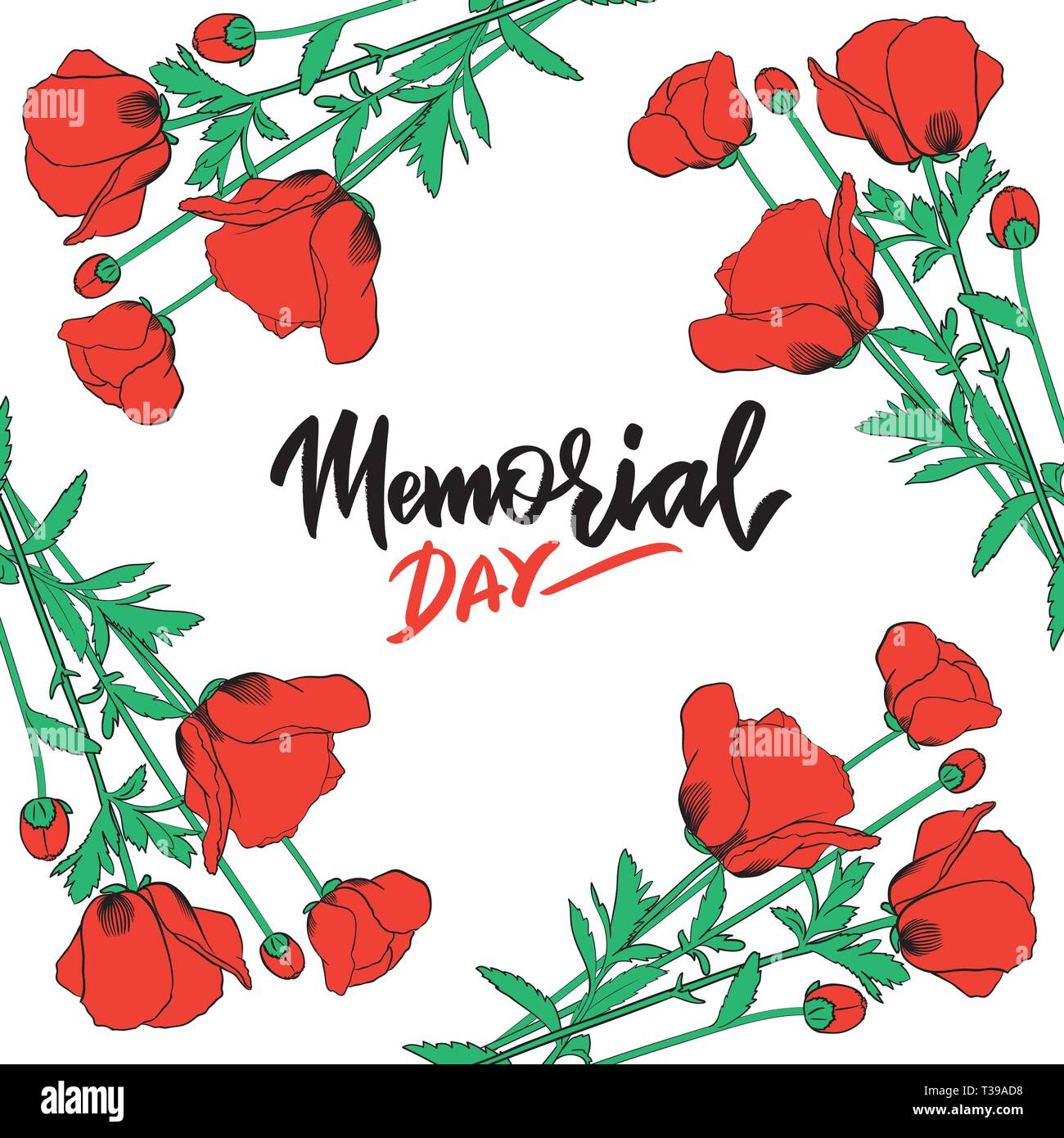 Memorial day typography, hand-lettering, calligraphy in red poppy flower frame. Greeting card, poster, banner, flyer, invitation in retro colors. Vect - Stock Vector