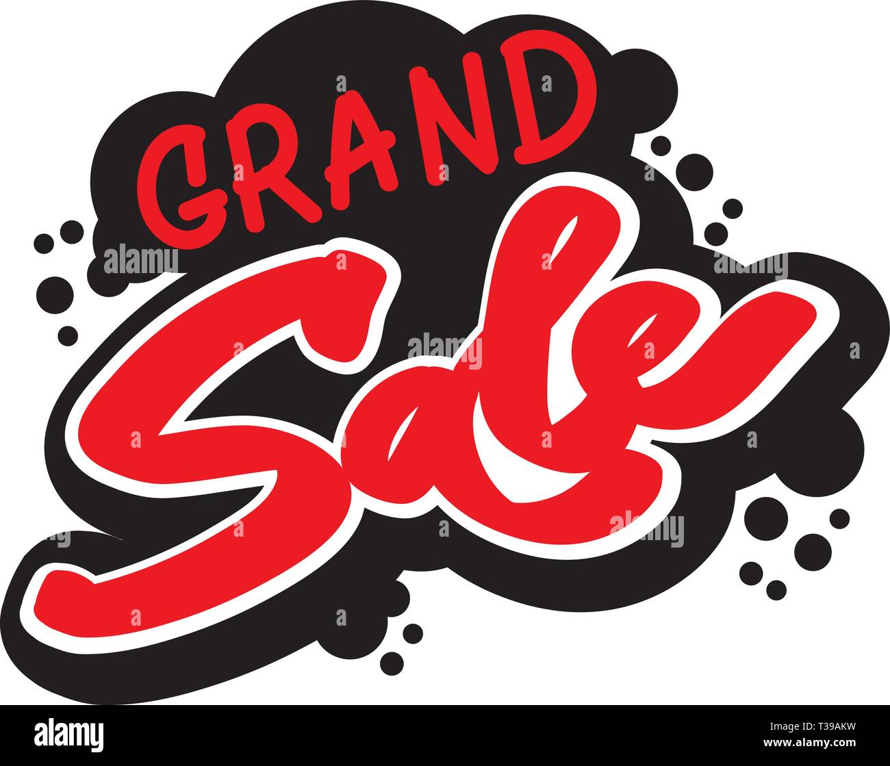 Grand sale lettering inscription, fat letters style, grunge, graffiti style. Hand written red and black brush lettering with 'grand sale' text. - Stock Image