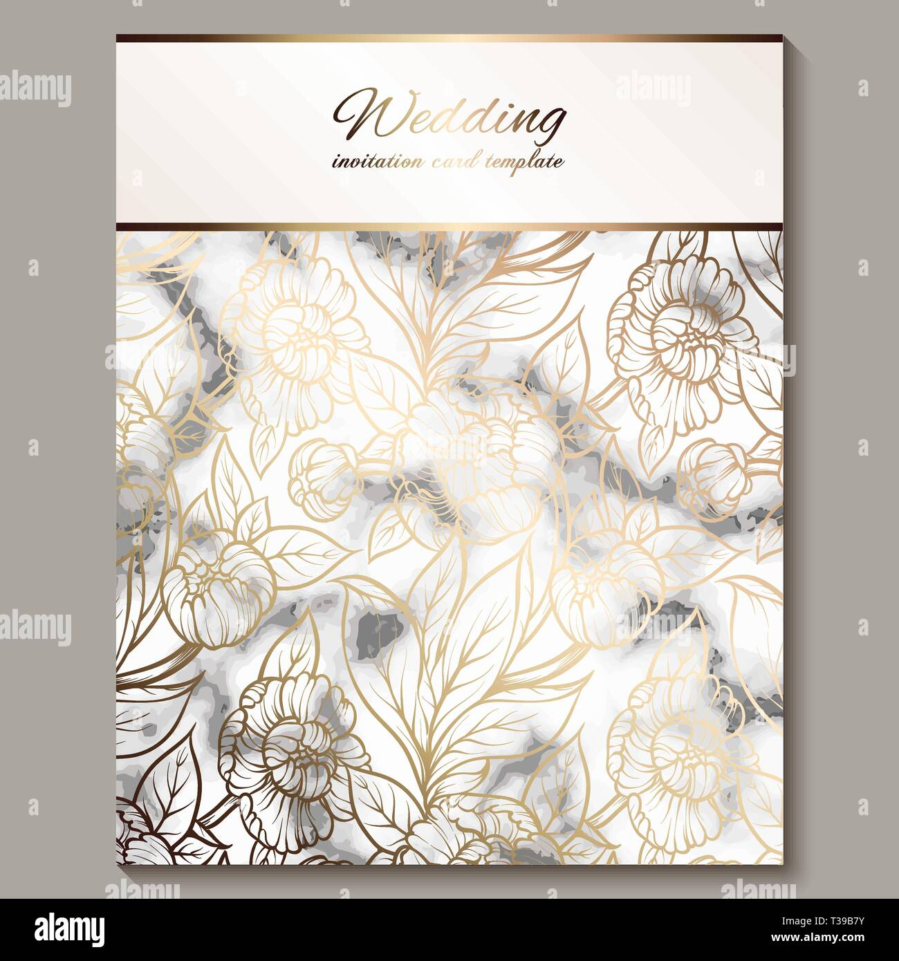 Luxury and elegant wedding invitation cards with marble texture ...