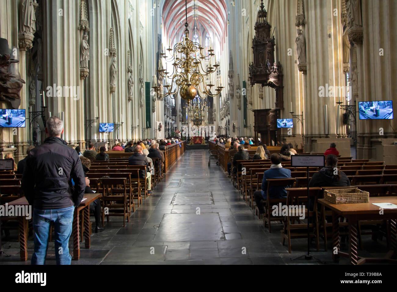 Saint John's Cathedral. Sint Janskathedraal. Netherlands, Hertogenbosch, also known as Den Bosch. The Gothic church. - Stock Image