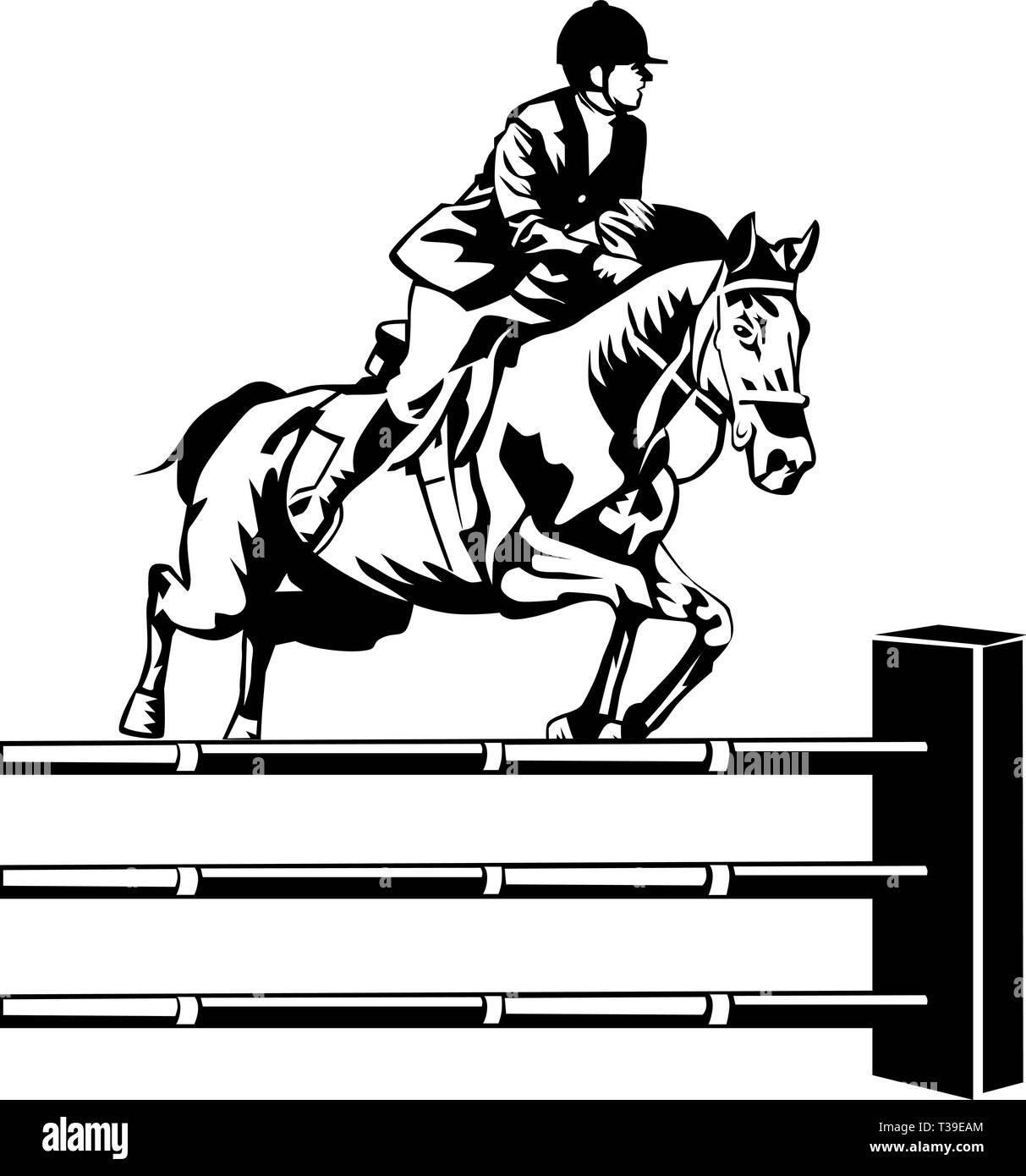 Horse Jumping Vector Illustration Stock Vector Image Art Alamy