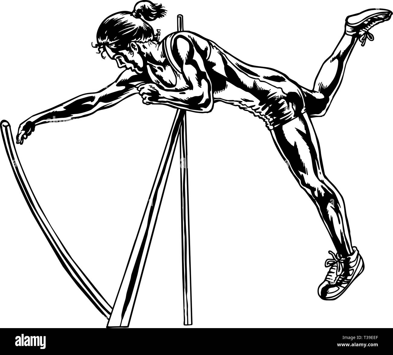 Pole Vaulter Vector Illustration Stock Vector