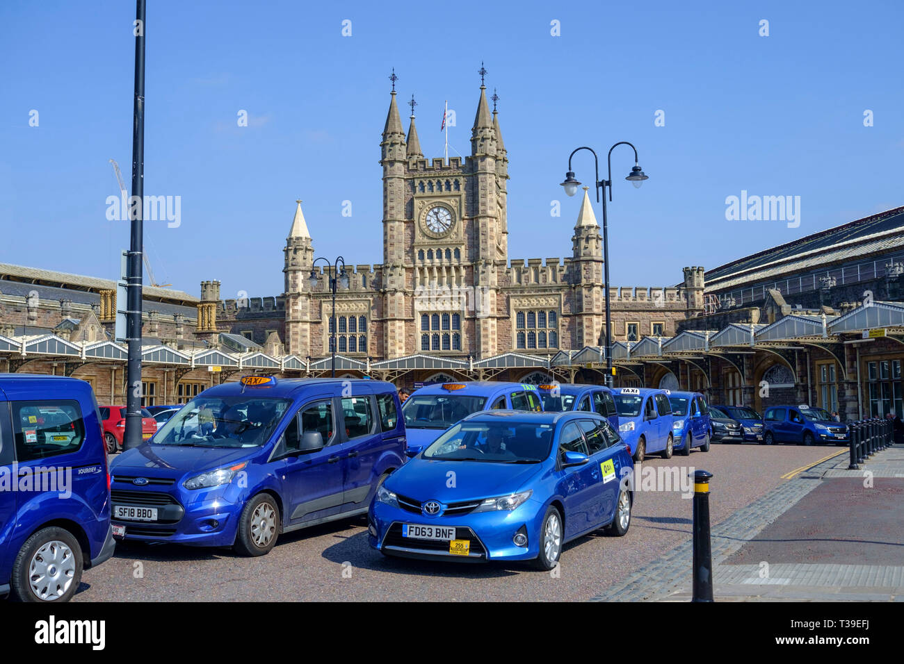 Bristol Blue Taxis Temple Meads Station Bristol Stock Photo