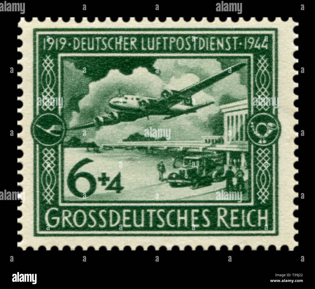 German historical stamp:  25th anniversary of the German postal air service.  Plane Focke-Wulf Fw 200 Condor in flight over the airport, airmail, 1944 - Stock Image