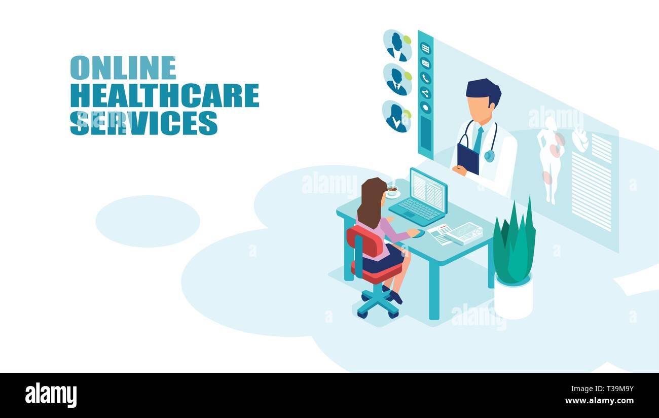 vector of a patient meeting a doctor online using modern computer technology online medical consultation concept stock vector image art alamy https www alamy com vector of a patient meeting a doctor online using modern computer technology online medical consultation concept image243002647 html