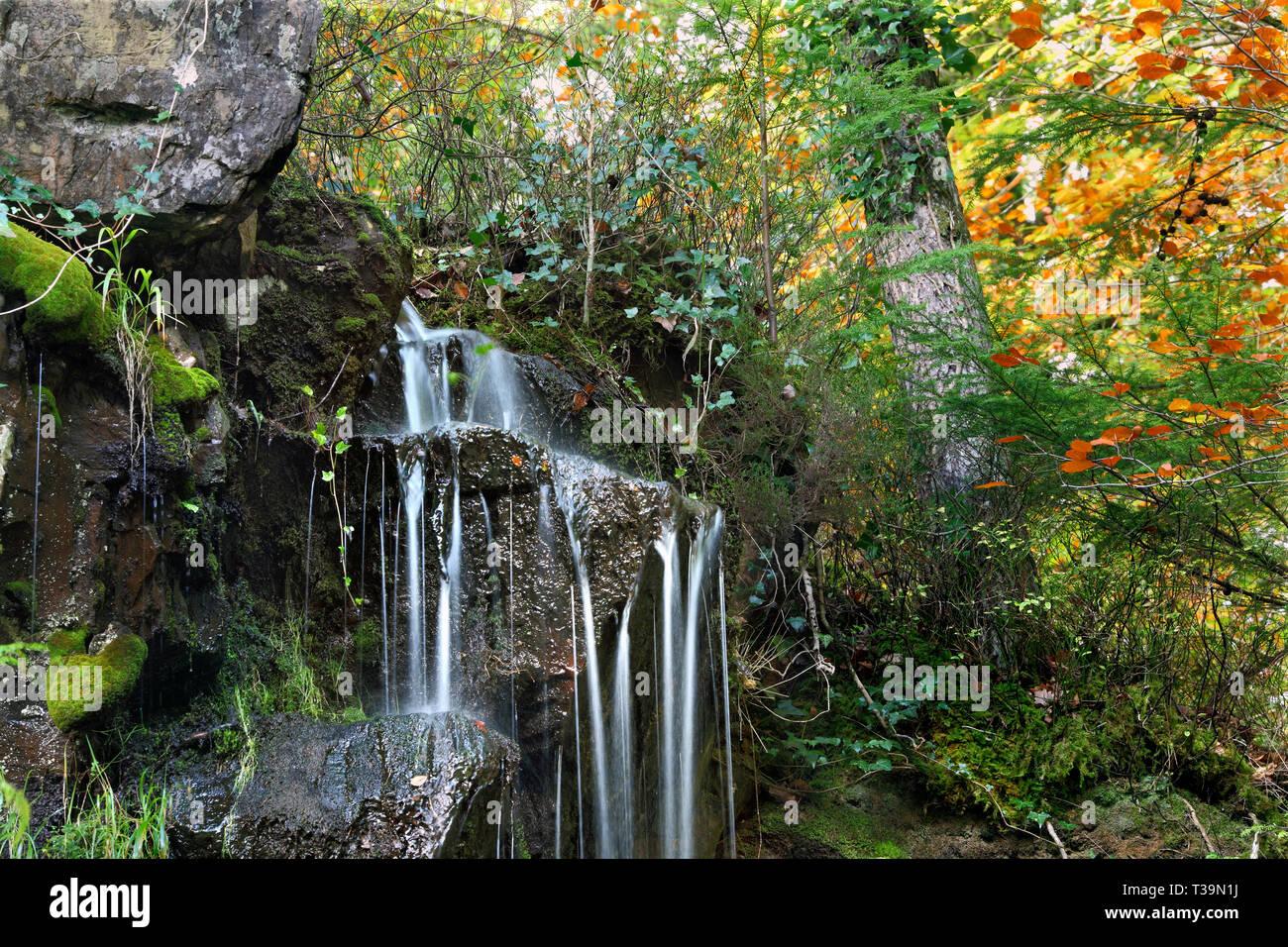 Small  waterfall on a hillside by the Afon Llugwy (River Llugwy), near Betws-y-Coed, North Wales. - Stock Image