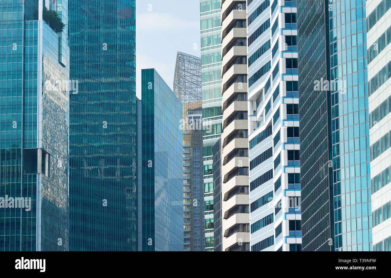 Singapore architecture, cityscape with skyscrapers glass facades, business and finance metropolis theme - Stock Image