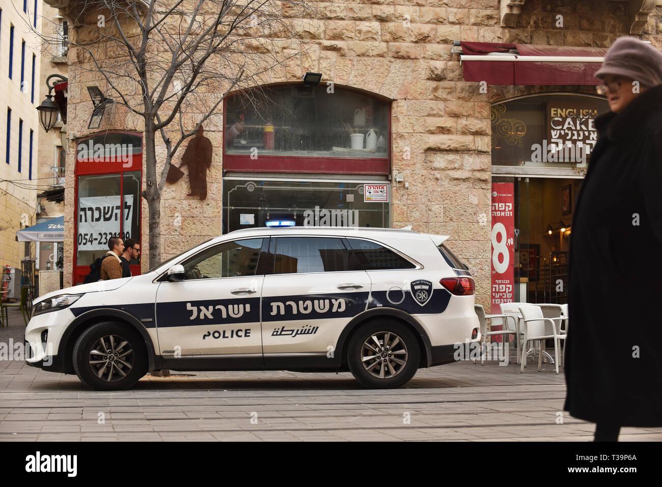 Police car in Jaffa street, Jerusalem, Israel - Stock Image