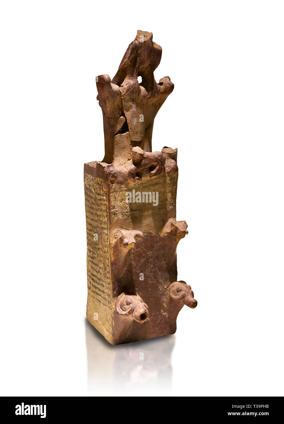 Hittite terra cotta tower shaped vessel representing a two storey tower of the city walls complete with merlons - 14th century BC - Hattusa ( Bogazkoy Stock Photo