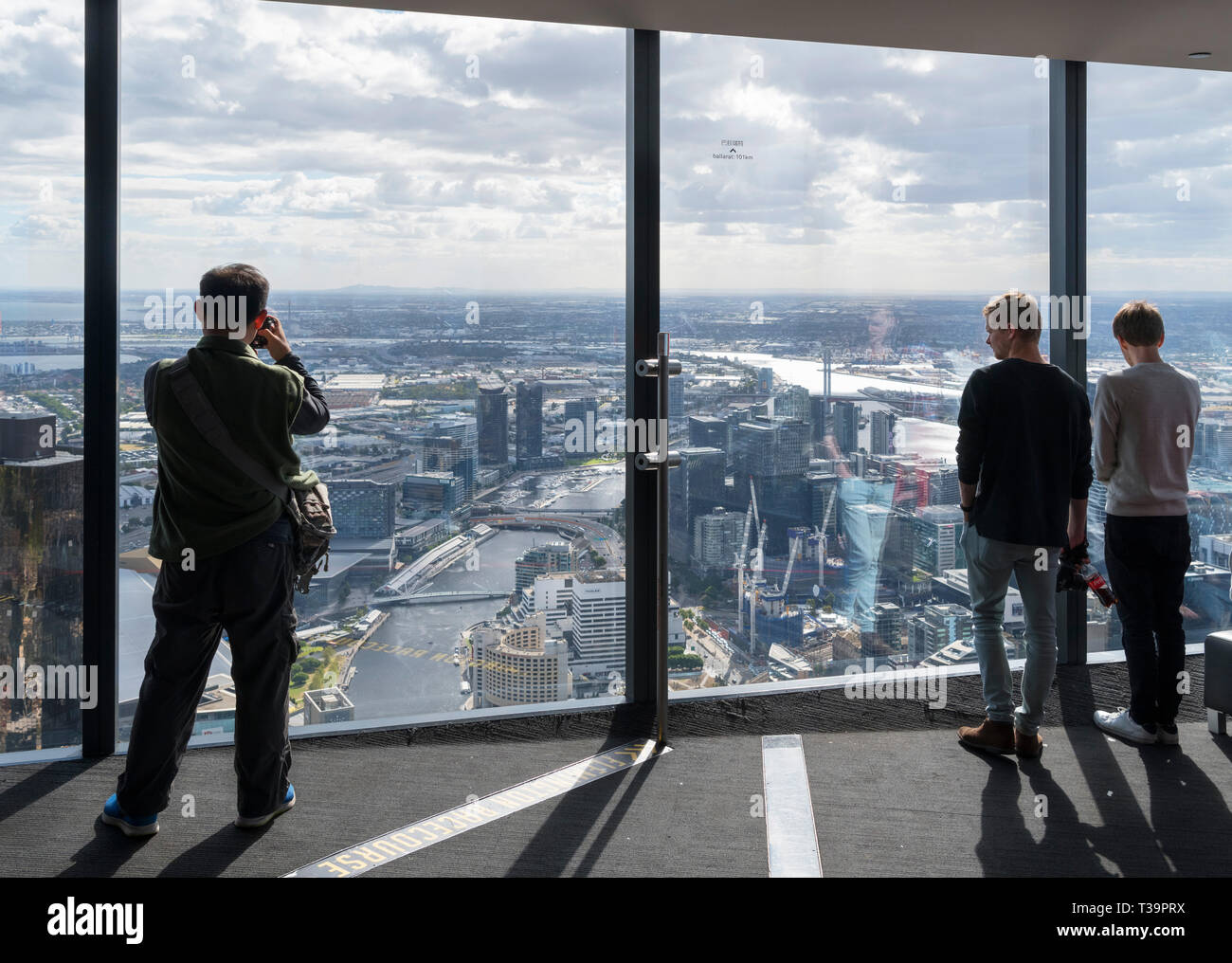 Aerial view over the city from the Eureka Skydeck 88, Eureka Tower, Melbourne, Victoria, Australia - Stock Image