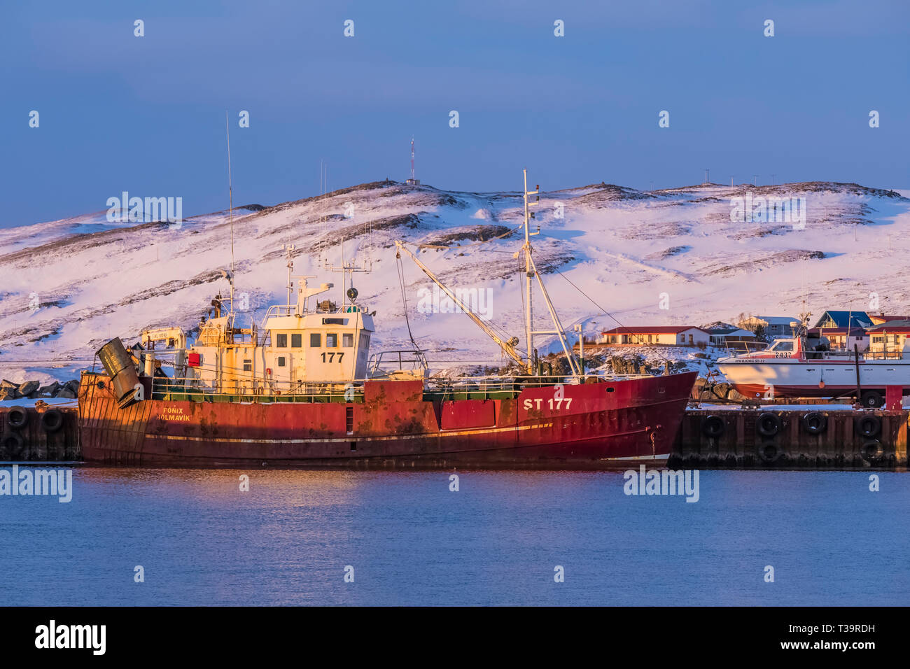 Fonix fishing trawler docked at Hólmavík in winter in the Westfjords
