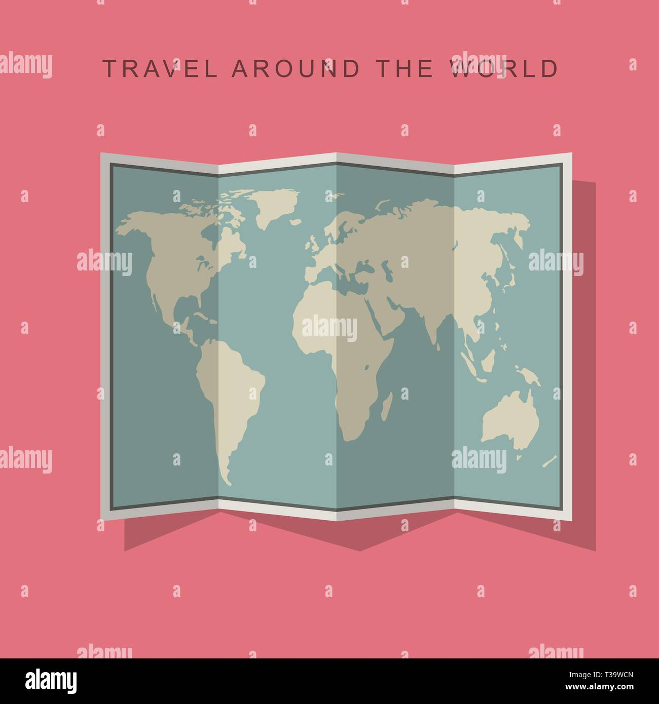 Folded paper world map with shadow on pink background. Flat illustration of map. Stock Vector