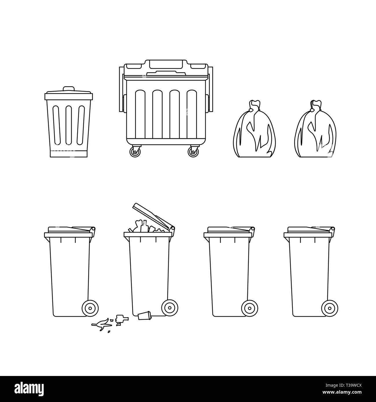 Line drawings of trash cans and dumpsters. Garbage removal line illustration. - Stock Vector