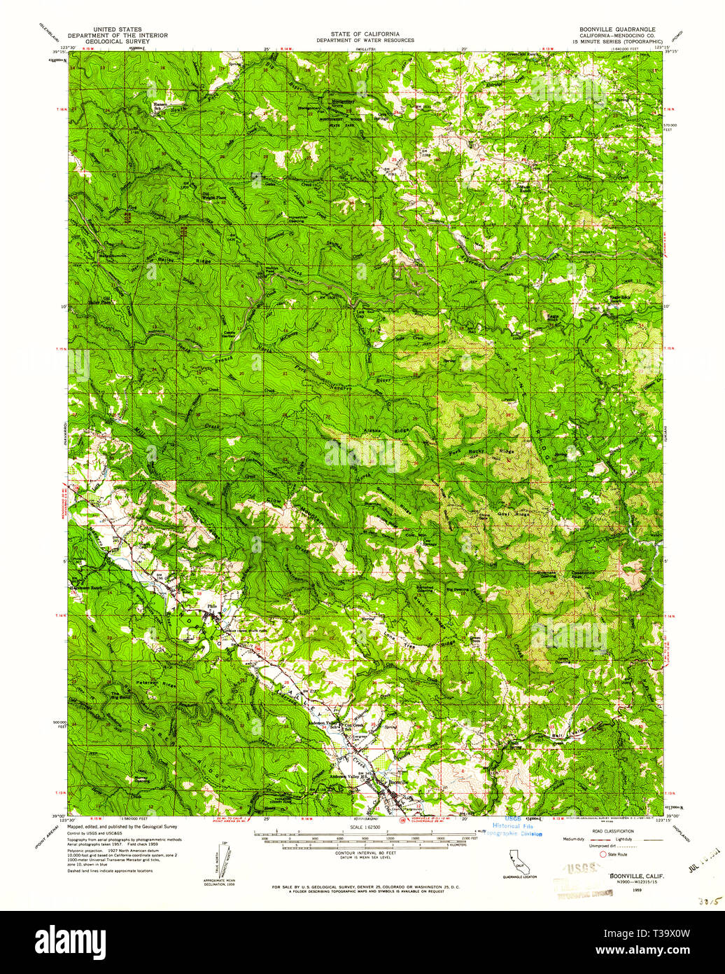 USGS TOPO Map California CA Boonville 296867 1959 62500