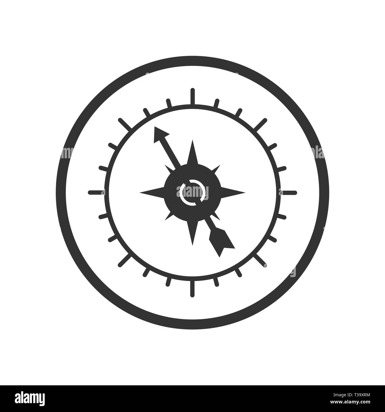 Compass icon, simple design for website or app, flat design. - Stock Vector