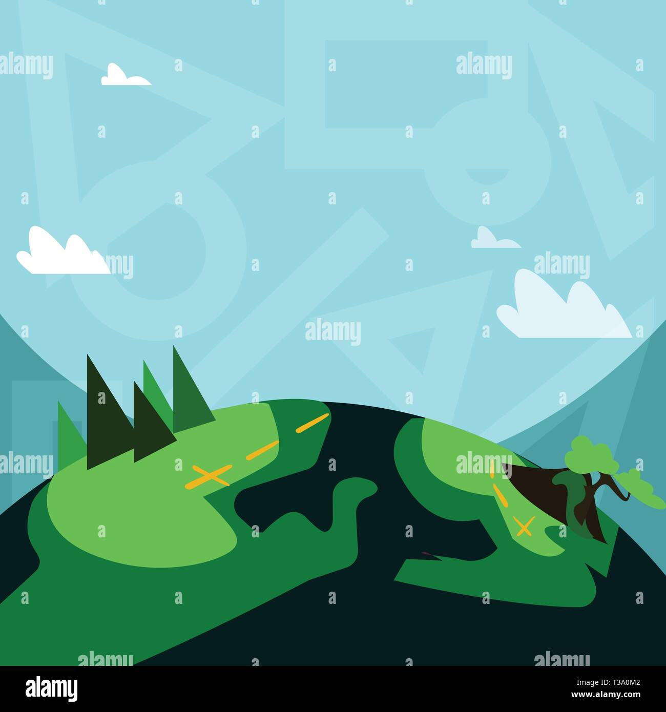 Mountain View with Marked Hiking Trail and Trekking Tracks for Outdoor Ads Design business Empty template isolated Minimalist graphic layout template  - Stock Vector